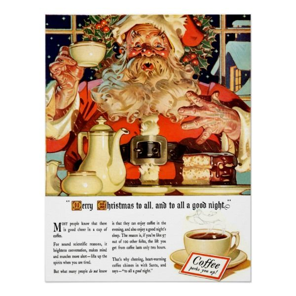 Coffee W Santa Advertisement Custom Poster Zazzle Com Christmas Ad Leyendecker Vintage Holiday