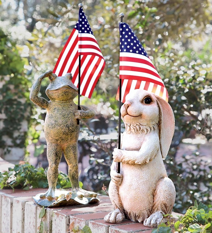 Patriotic Frog Or Bunny Carry Flag To Celebrate The Occasion.