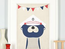 Retro Poster, Tolles Seemann Otter Poster, Bild