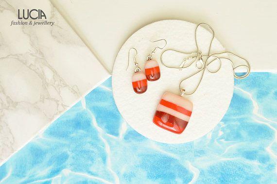 Fused glass jewelry Red glass jewelry set Striped glass