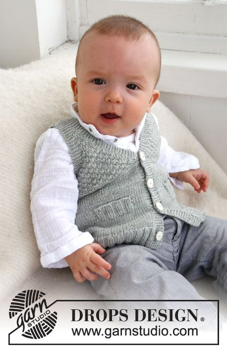"""Junior - Knitted DROPS vest with V-neck and textured pattern in """"Baby Merino"""" or """"Baby Alpaca SIlk"""". - Free pattern by DROPS Design"""