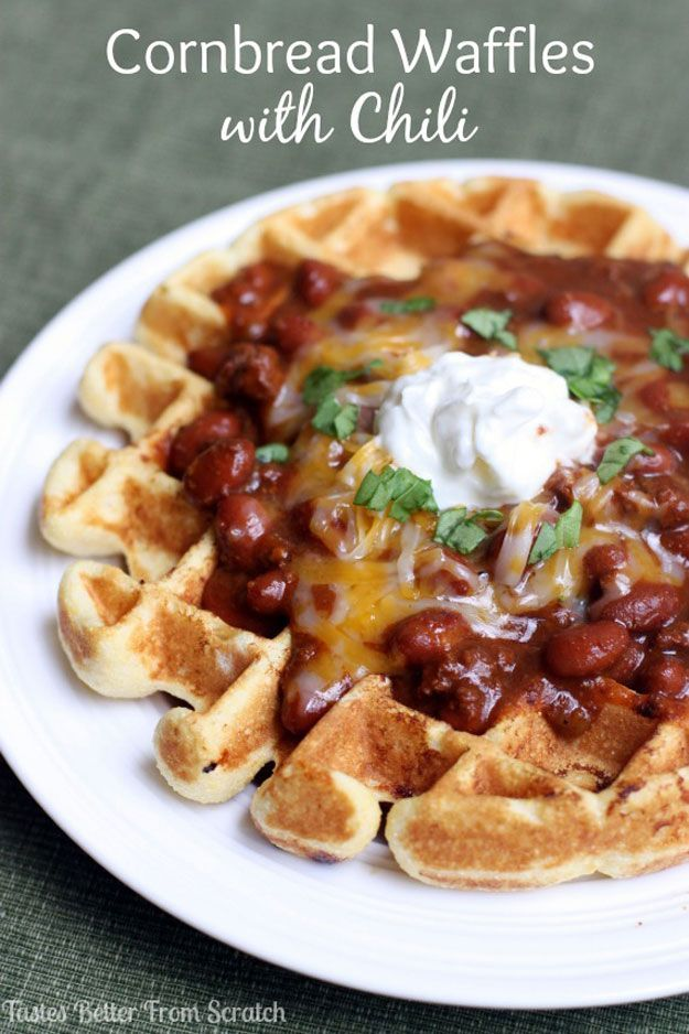 Copycat Food Truck Recipes - Cornbread Waffles with Chili | Homemade Recipes http://homemaderecipes.com/course/appetizers-snacks/homemade-food-truck-recipes