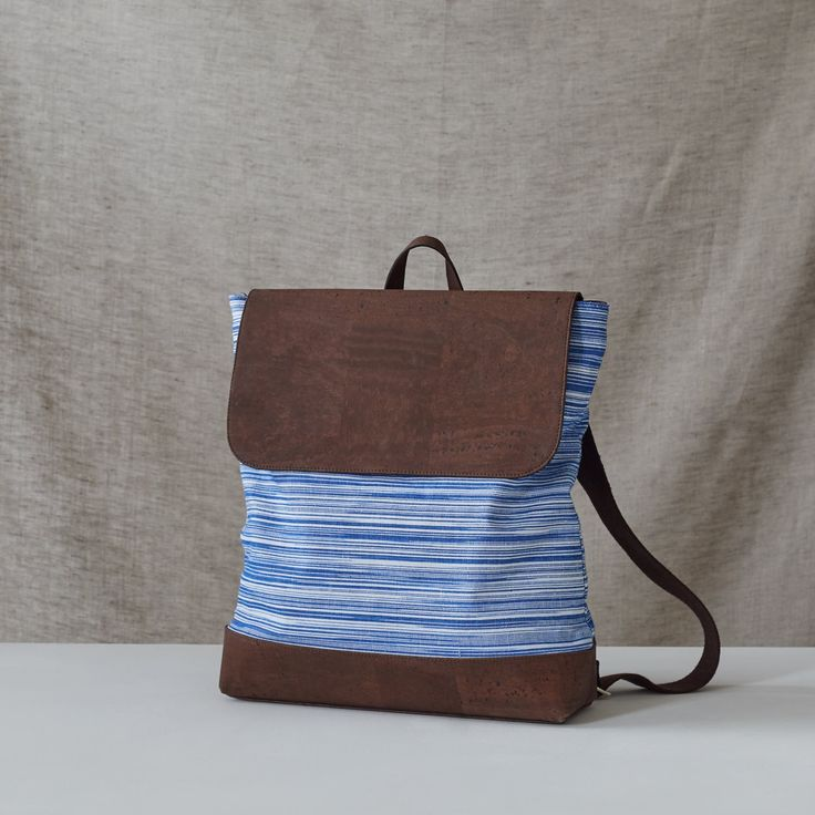 Catherine Dang Oak backpack made from ikat fabric & cork textile. Handcrafted in Geneva, Switzerland.