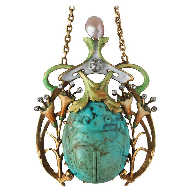 Guillemin Frères Fin de Siècle Enamel Turquoise Pearl Diamond Gold Necklace   See more rare vintage Pendant Necklaces at https://www.1stdibs.com/jewelry/necklaces/pendant-necklaces
