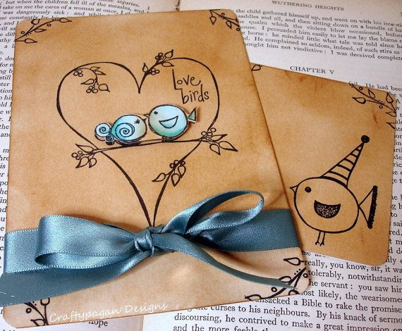"I really like the ""tea stained"" effect with the bold blue, bird party invitations.  no 'love birds' though"