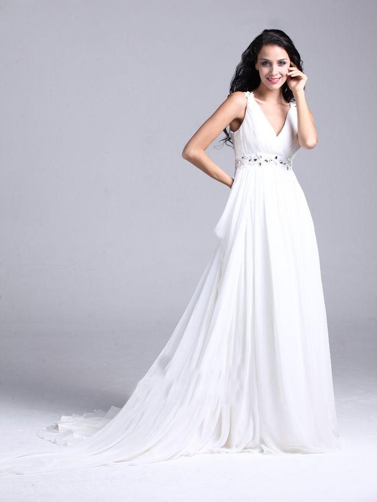 White Chiffon V-neck Floor-length Prom Dress
