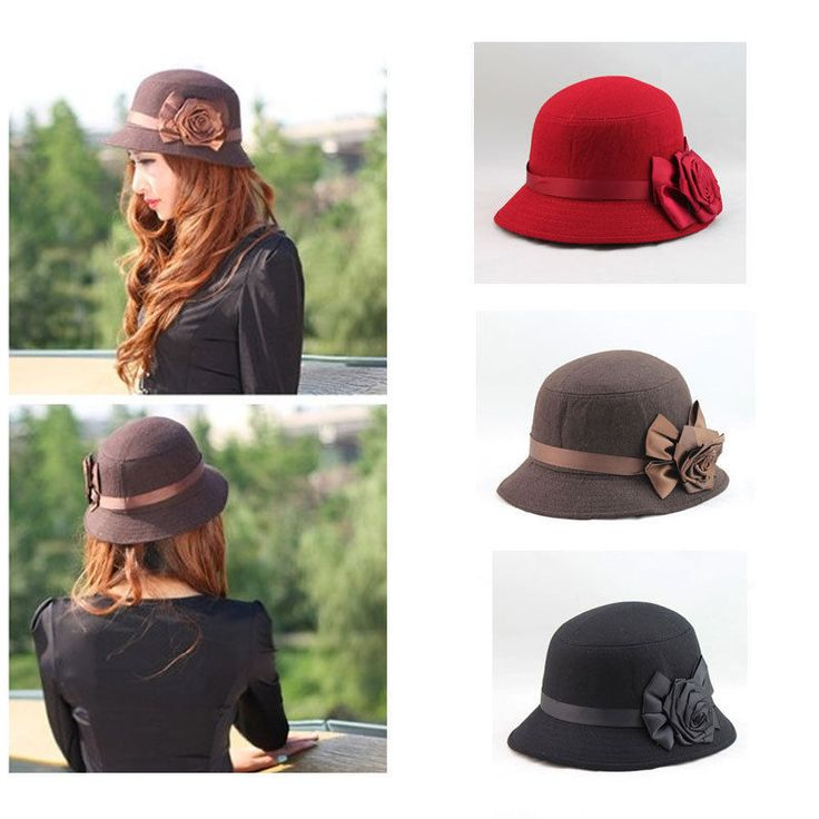 Vintage Women Ladies Fedora Hat Rose Flower Cloche Bucket Cap Headwear Fashion #Unbranded #Cloche
