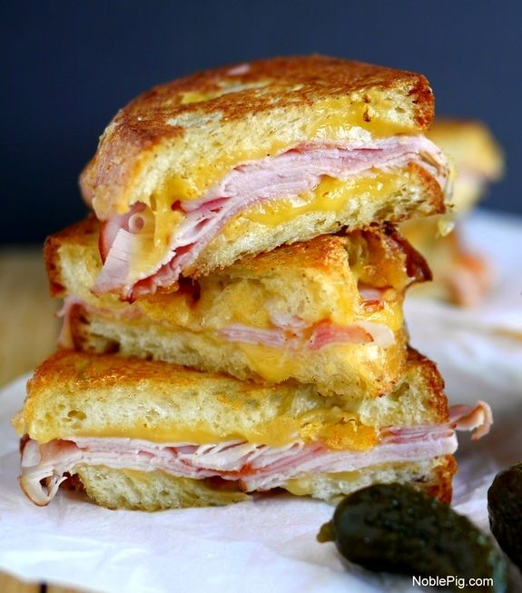 Epic Grilled Ham and Cheese Sandwich Stack from @Noble Pig