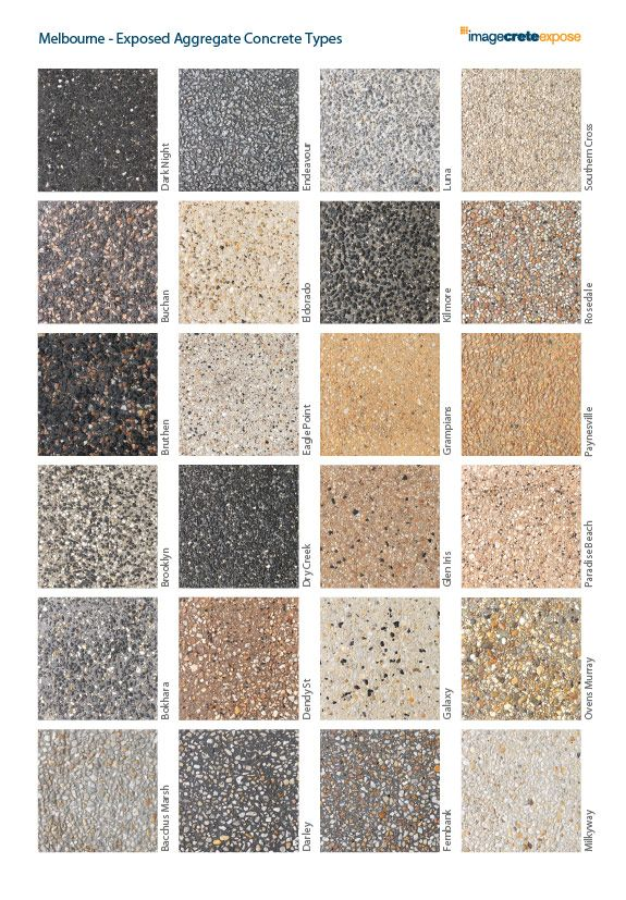 Exposed Aggregate Concrete types                                                                                                                                                                                 More