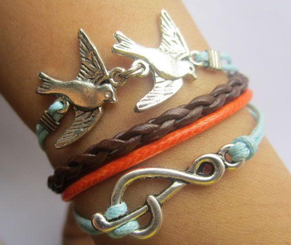 Bracelet--antique silver swallow music note bracelet & double wax string chain.