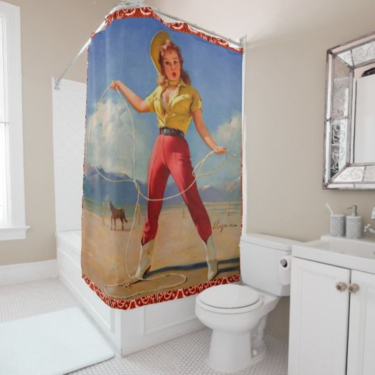 Western Vintage Cowgirl With Rope Shower Curtain