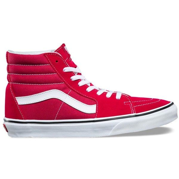 Vans SK8-Hi (240 AED) ❤ liked on Polyvore featuring men's fashion, men's shoes, men's sneakers, red, mens cap toe shoes, mens red shoes, mens red high top sneakers, mens high top shoes and mens red high top shoes