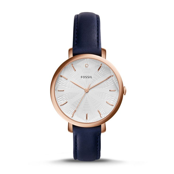 Fossil Incandesa Three-Hand Date Leather Watch – Blue, ES3864| FOSSIL® Watches
