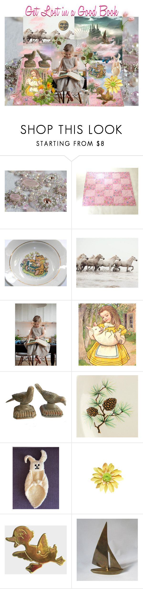 """Get Lost in a Good Book"" by seasidecollectibles ❤ liked on Polyvore featuring WALL, Universal, American Dakota, Dollhouse and vintage"