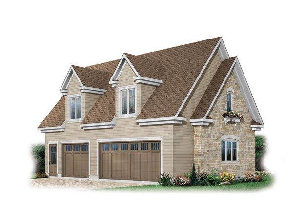Elegant exterior on this 3 stall garage with dormer for 2 story house plans with dormers