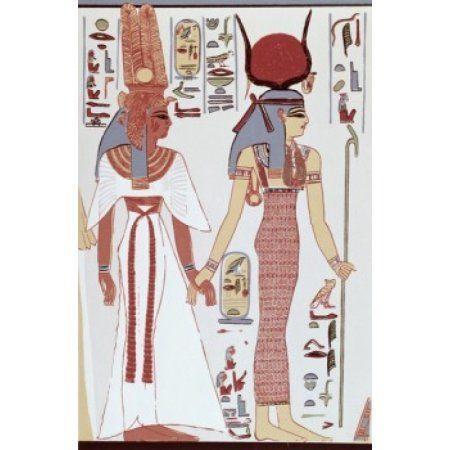 Nefertiti Tomb-Isis Leading Nefertiti Egyptian Art Canvas Art - (24 x 36)
