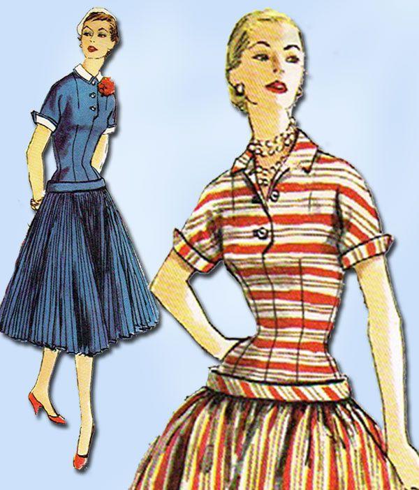 1950s Vintage Simplicity Sewing Pattern 1040 Uncut Misses Drop Waist Dress 34B #Simplicity #DressPattern