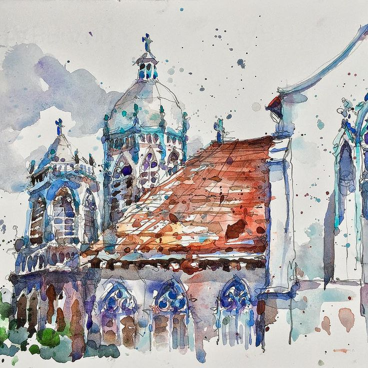 Sketch of St.Joesph Church for the upcoming USK Symposium Auction…