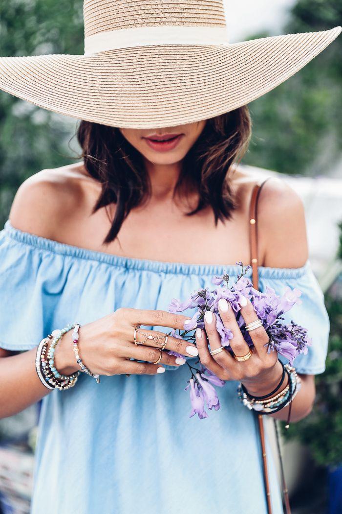 Oversized hat & off the shoulder denim dress