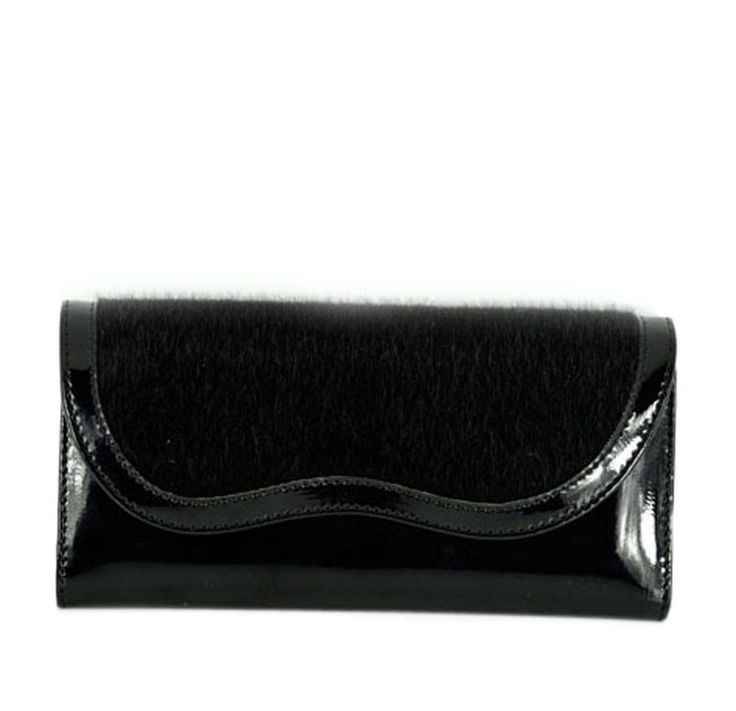 Black Plush Detailed Patent Leather Women Purse