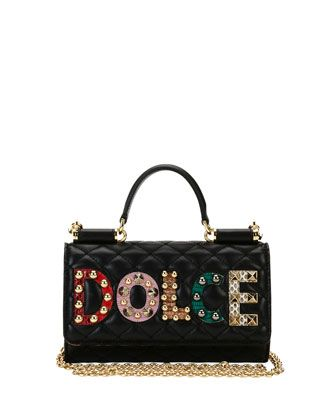 Miss+Sicily+Crossbody+iPhone+Wallet/Case,+Black+by+Dolce+&+Gabbana+at+Neiman+Marcus.