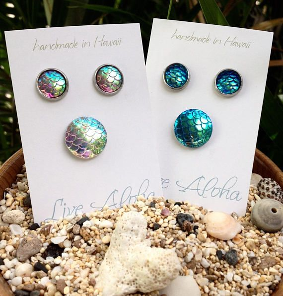mermaid scale earrings mermaid earrings iridescent mermaid