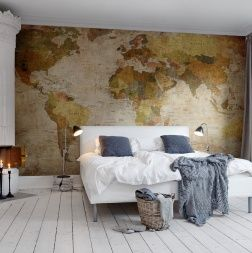 Photo mural of World Map Interior... office? room with a wall of bookshelves?