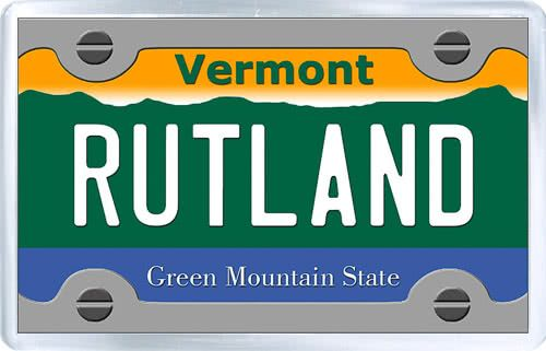 $3.29 - Acrylic Fridge Magnet: United States. License Plate of Rutland Vermont