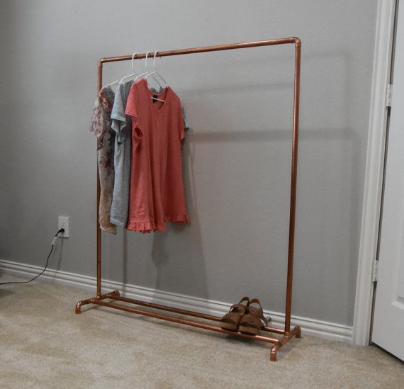 Copper Pipe Industrial Clothing Rack. Industrial Retail Clothing and Garment Rail. Store Fixture