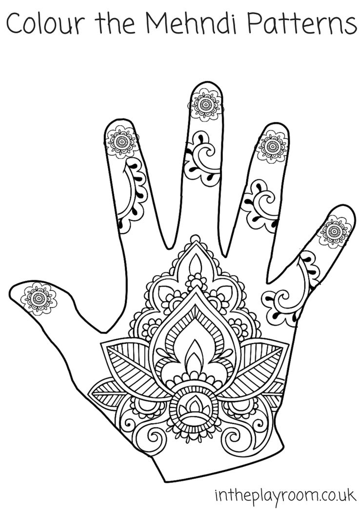 mehndi designs colouring page, with detailed patterns
