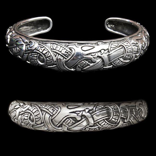 f50c767165ddd ADM131 - Runic Viking Bracelet - Silver | Viking Jewelry | Viking ...