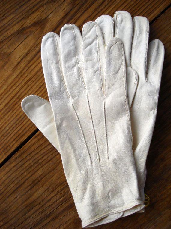 Vintage 1930s Mens Formal Gloves White Kid Leather 2013439