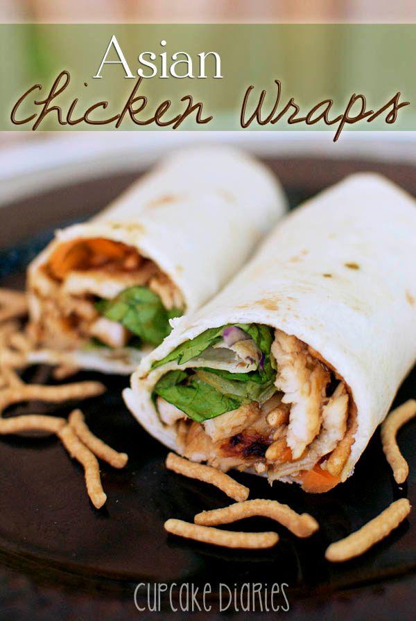 Wraps de frango asiático.