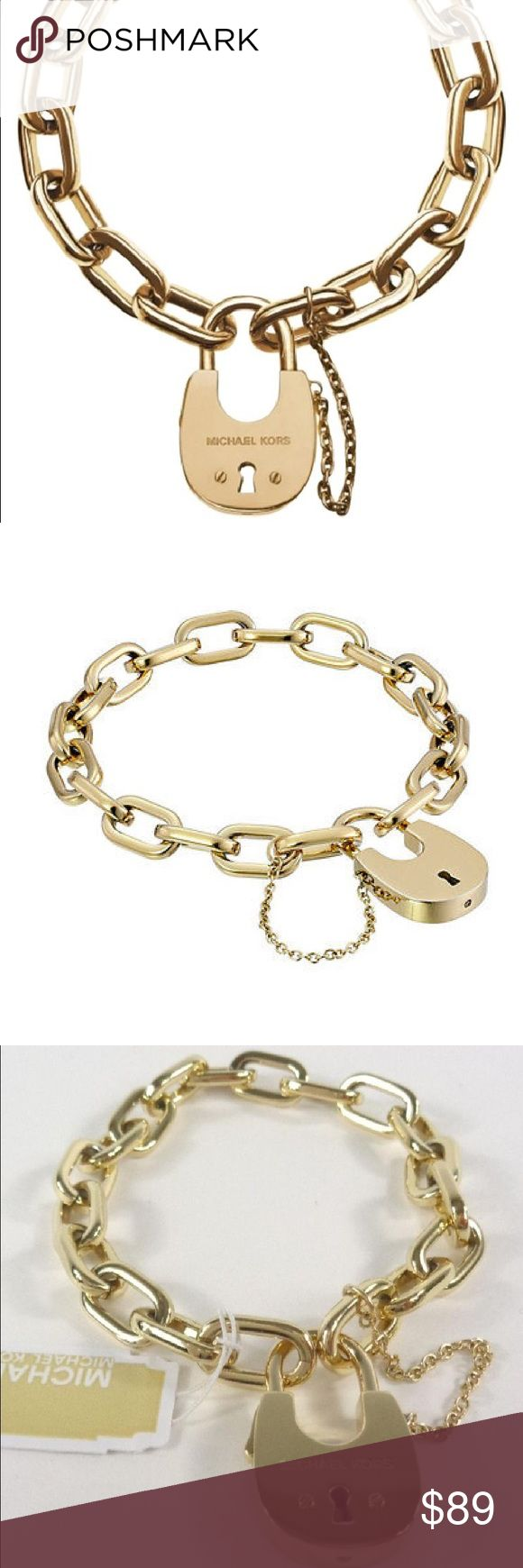 Michael Kors Padlock Gold tone bracelet Michael Kors MKJ4627710 Gold Padlock Chain Bracelet    MSRP: $125.00 plus tax    New with tags and 100% authentic    MICHAEL KORS WOMEN'S  GOLD TONE PADLOCK   STAINLESS STEEL CHAIN BRACELET  STYLE # MKJ4627710  Approximately 7.5 in length  Comes with original box, pouch, and care card. Michael Kors Jewelry Bracelets