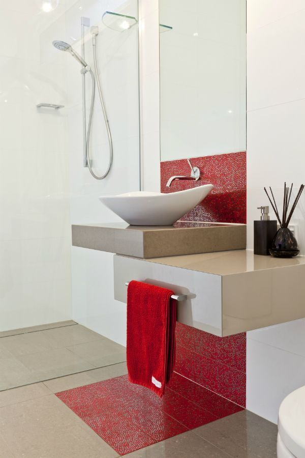 small modern vanity feature tiles