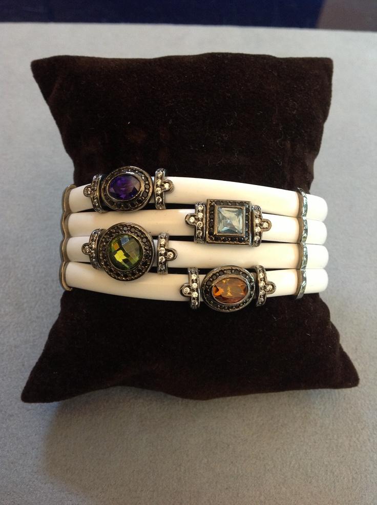 Rubber Bracelet, silver and gemstones