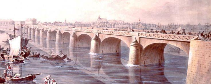 """Le pont Cessart en 1775, partie droite d'une aquarelle gouachée signée """"Masson"""", musées du Château. Saumur"""