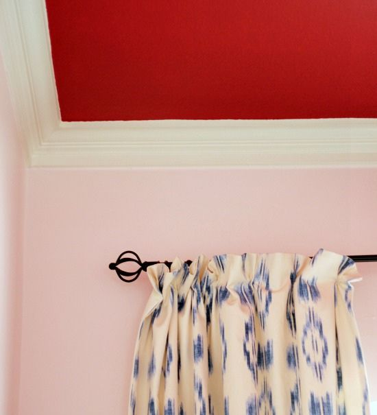 Hi Sugarplum | Pink Walls & Red Ceiling The red (Sherwin-Williams 'Showstopper' in flat finish)