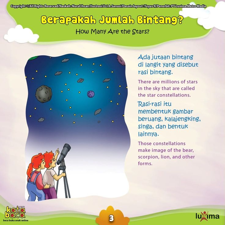 Baca Online Buku Seri Sains Anak Rahasia Keajaiban Ruang Angkasa untuk anak belajar mengenal alam semesta dilengkapi teks Bahasa Inggris dan gambar warna.