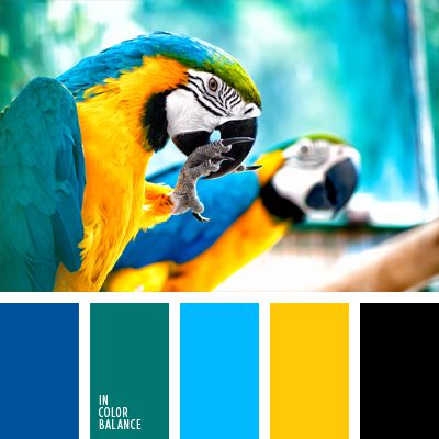 These shades of blue and turquoise go well with the bright yellow color. This palette can be safely used to decorate an apartment or bathroom renovation.