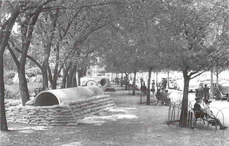 North Tce, Adelaide, South Australia, 1939  Within days of the declaration of war, air-raid shelters like this one were dug in the city and suburban parks