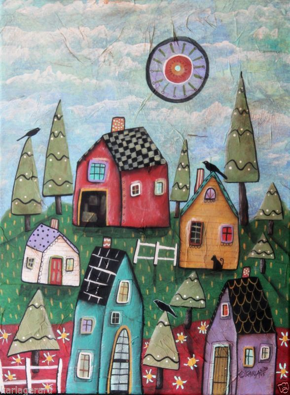 Prim Village 12x16 polegadas Tela Original Pintura Folk Art Abstrata Karla Gerard