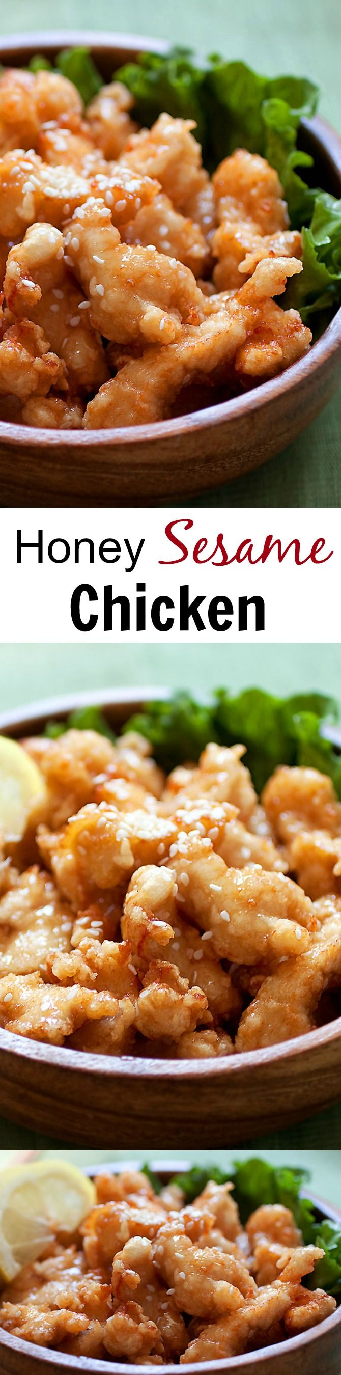 Honey sesame chicken - the easiest and crazy delicious chicken recipe in a sticky sweet and savory honey sesame sauce that you just can't stop eating | rasamalaysia.com