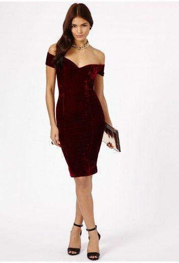 Rila Velvet Bardot Bodycon Midi Dress - Dresses - Missguided
