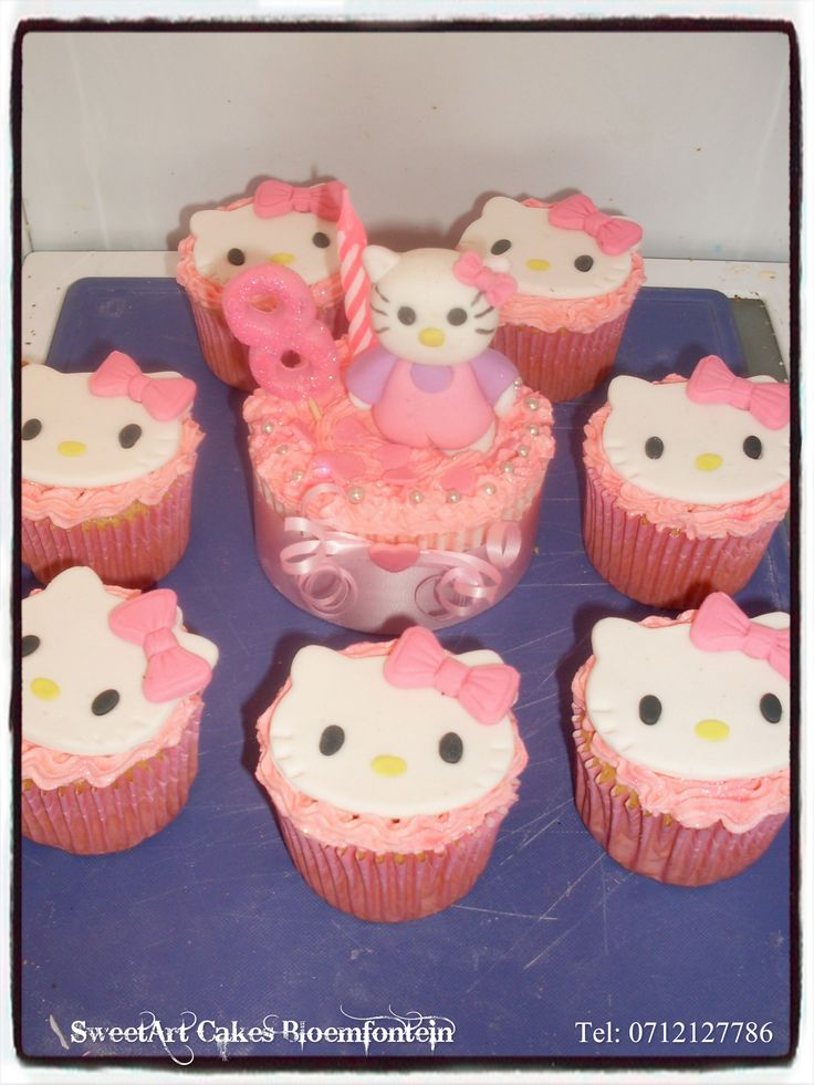 Hello Kitty Cupcakes  SweetArt Cakes Bloemfontein for all your cake & cupcake needs.  (Workshops available)  For more info & orders email sweetartbfn@gmail.com or call 0712127786.