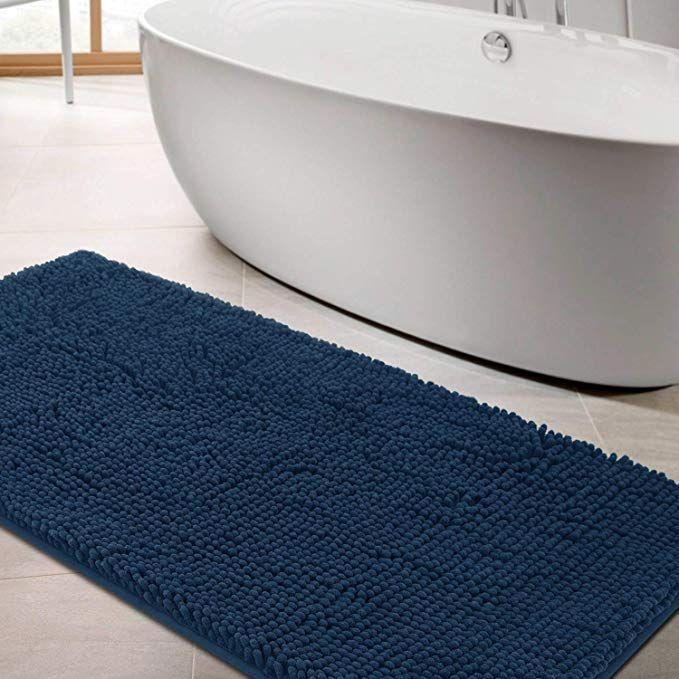 Linla Non Slip Shaggy Chenille Microfiber Bath Mat Extra Soft