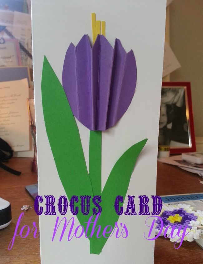 Great idea for a simple crocus card for Mother's Day and looks like it will be a quickie,  so even better for kids wihout a lot of concentration.
