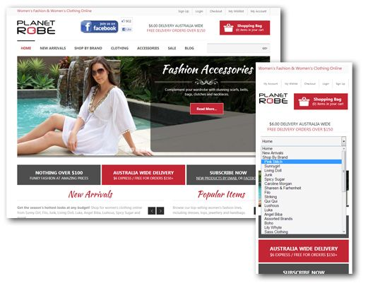 Intuitive and adaptable (and iPhone browser friendly) ecommerce online shop design for women's fashion store www.planetrobe.com.au