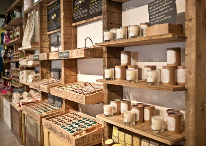 Custom timber shelves designed to hold organic soaps