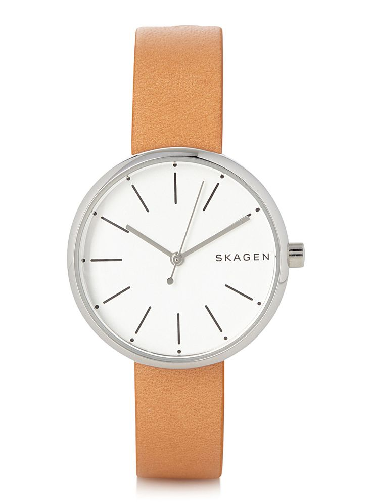 - The Danish Skagen collection at Simons - 30 mm stainless steel case, water-resistant (5 ATM) - 12 mm adjustable leather band with tongue buckle